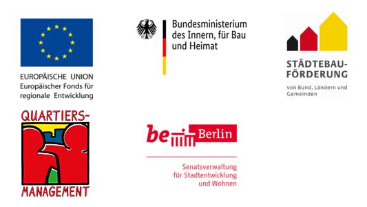 Logos der Organisationen, aus deren Mitteln das Quartiersmanagement finanziert wird: Europäischer Fonds für regionale Entwicklung, Bundesministerium des Innern, für Bau und Heimat, Senatsverwaltung für Stadtentwicklung und Wohnen.