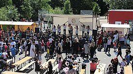 Die Bühne beim Sommerfest auf dem Droryplatz 2015,.