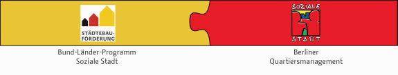 Die Logos Bund-Länder-Programm Soziale Stadt und Soziale Stadt Berlin als Puzzlestücke verbunden.
