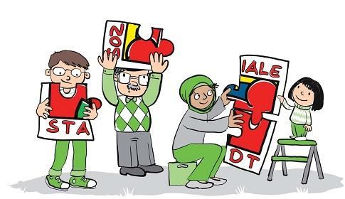 4 Comicfiguren mit dem Logo Soziale Stadt. Illustration: Dankegrafik&123comics