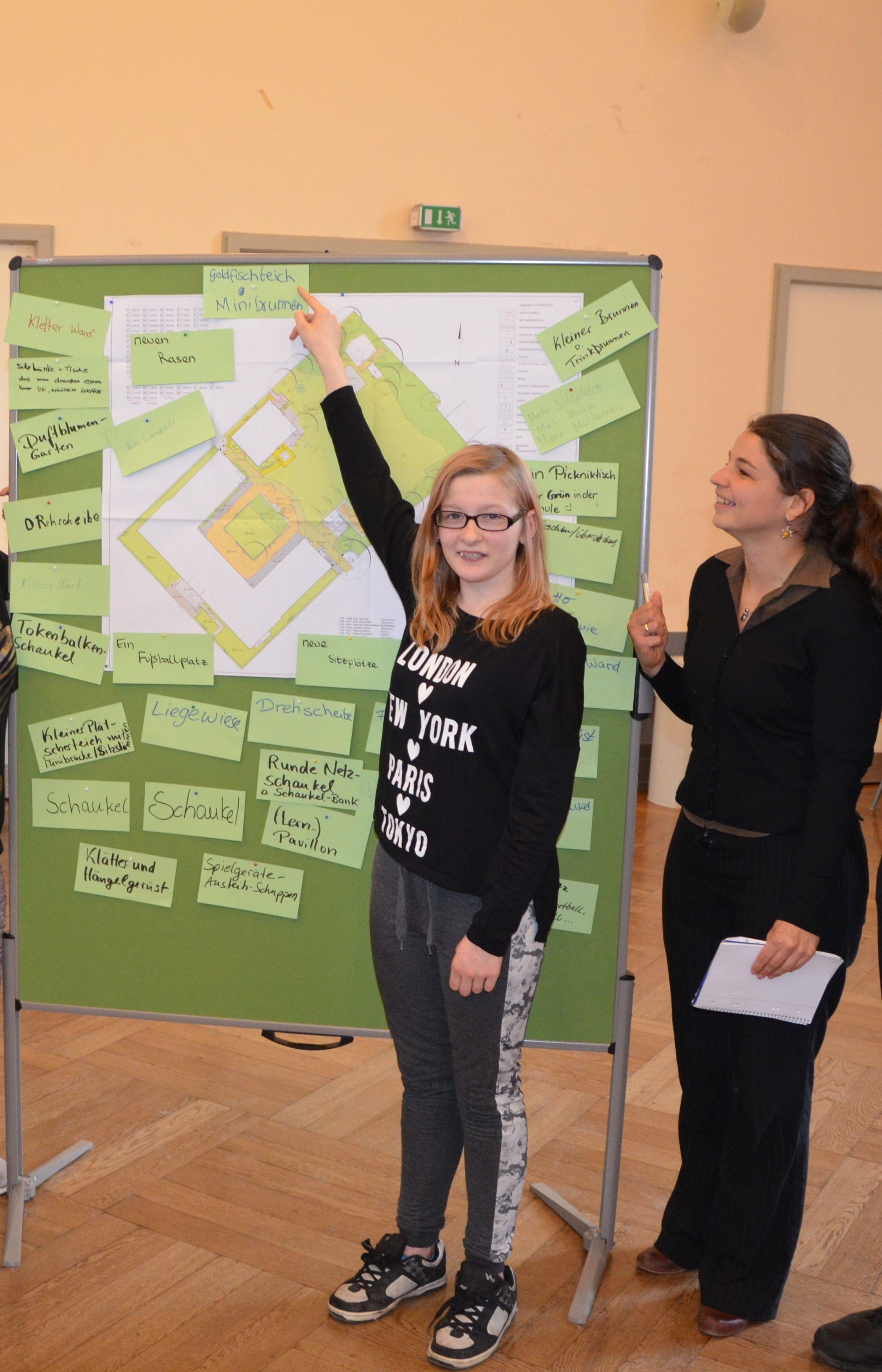Schülerinnen und Schüler beteiligen sich an der Neugestaltung der Kepler-Schule.  Bild: QM-Team High Deck Siedlung