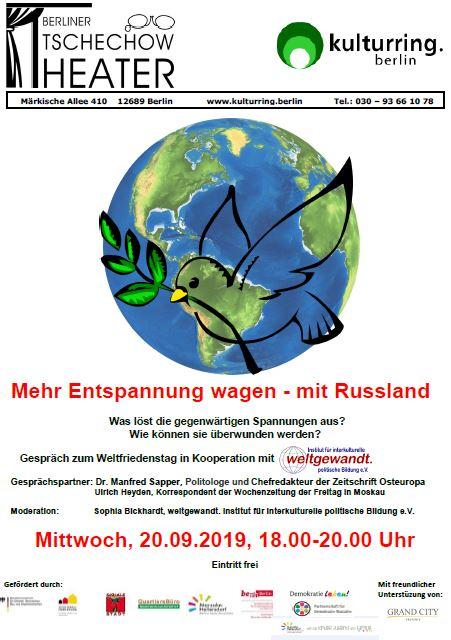 """Flyer der Diskussionsveranstaltung """"Mehr Entspannung wagen - mit Russland"""". Bild: QM Marzahn-NordWest"""