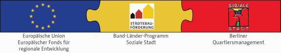 Die Logos Europäischer Fonds für regionale Entwikclung (EFRE) Bund-Länder-Programm Soziale Stadt und Soziale Stadt Berlin als Puzzlestücke verbunden.