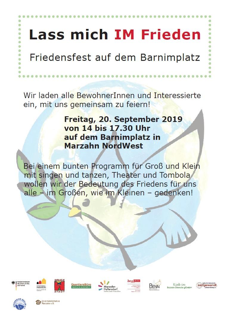 Flyer des Friedensfests auf dem Barnimplatz. Bild: QM Marzahn-NordWest
