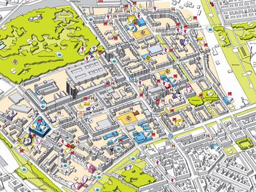 Der interaktive Kiezplan Bild: Stadträumliches Lernen / QM Brunnenviertel-Ackerstraße