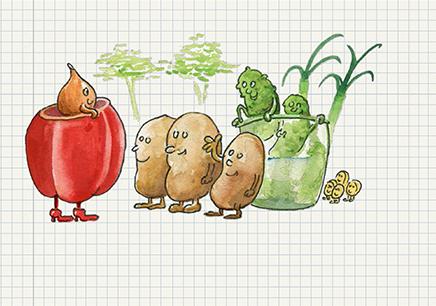 Kartoffelsalat ist kinderleicht -  das zeigt das neue Kiezanker Kochbuch. Illustration: M.Hühn