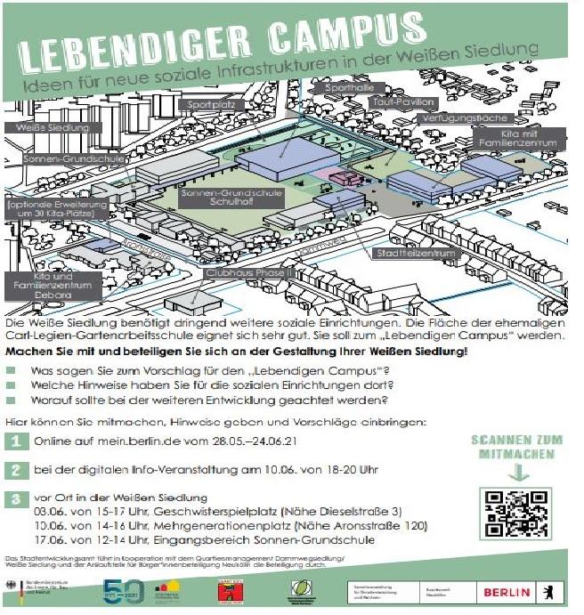 """Bis zu den Sommerferien gibt es die Möglichkeit, sich über die Idee des """"Lebendigen Campus"""" zu informieren und Hinweise sowie Anregungen zu seiner weiteren Entwicklung beizusteuern. (Flyer: QM Dammwegsiedlung/Weiße Siedlung W+P BmbH)"""