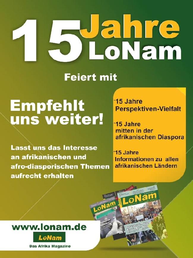 Das Magazin erscheint zweimal im Monat auf Deutsch und berichtet über Politik, Wirtschaft, Wissenschaft und Kultur afrikanischer Länder wie aus der Diaspora. (Bild: LoNam-Magazin)