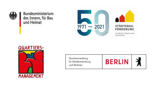 Logos der Organisationen, aus deren Mitteln das Quartiersmanagement finanziert wird: Bundesministerium des Innern, für Bau und Heimat, Senatsverwaltung für Stadtentwicklung und Wohnen.