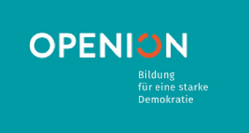 Das Projekt OPENION fördert demokratische Bildung. Logo: OPENION / DKJS