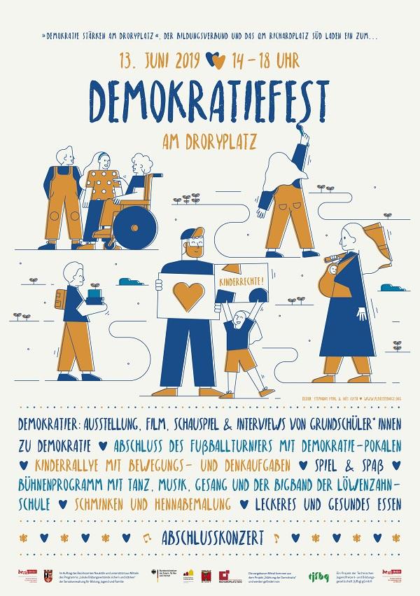 Plakat zum Demokratiefest. Grafik: QM Richardplatz Süd