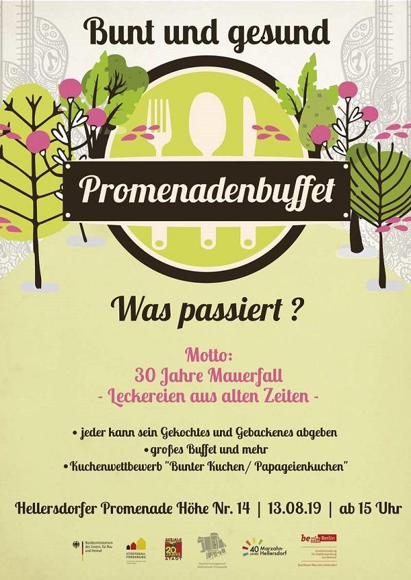 Flyer des Promenadenbuffets. Bild: QM Hellersdorfer Promenade