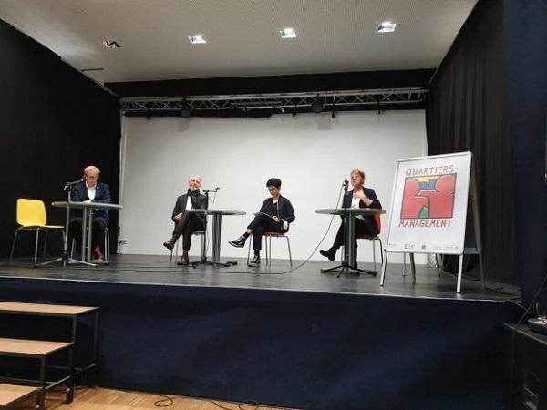 Senator Sebastian Scheel, Senatorin Elke Breitenbach und Bezirksstadtrat Ephraim Gothe nutzten  das Olof-Palme-Zentrum für eine Pressekonferenz . Foto: Senatsverwaltung für Stadtentwicklung und Wohnen