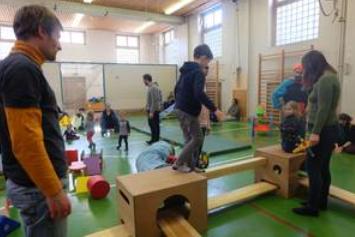 Auf der Bewegungsbaustelle an der Hermann-Boddin-Schule. Bild: B. Leiß