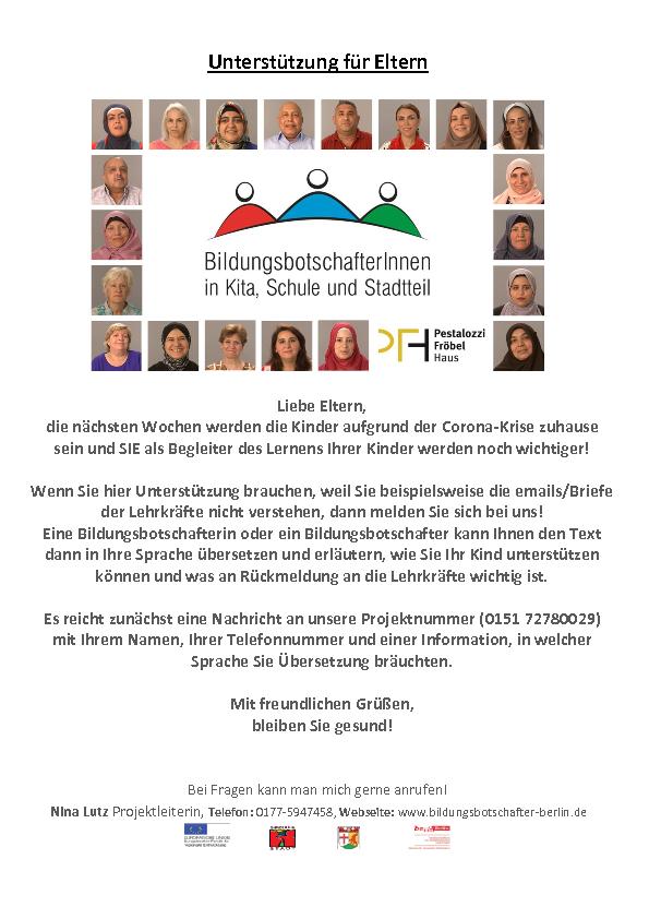 Elternbrief der BildungsbotschafterInnen auf Deutsch.