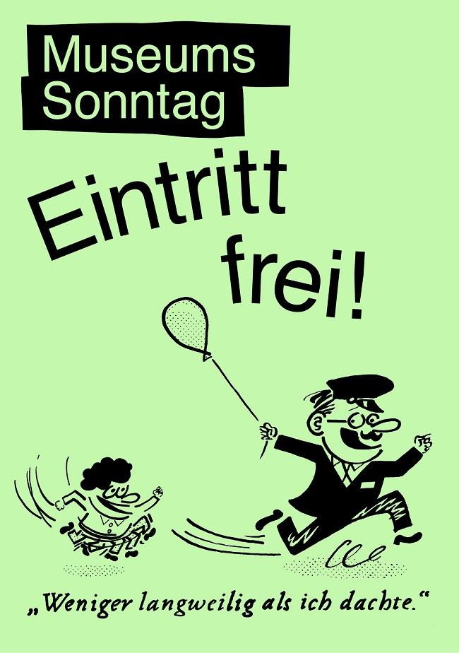Am 1. Sonntag im Monat ist der Eintritt in vielen Berliner Museen frei. (Museumssonntag Berlin, Design: www.buerobumbum.com, Illustration: www.sany.dk)